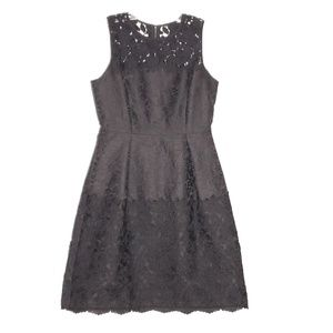 WHBM Black Jaquard & Lace Cocktail Party Dress 6